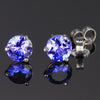 Blue Violet 14K White Gold Round Tanzanite Stud Earrings 1.21 Carats