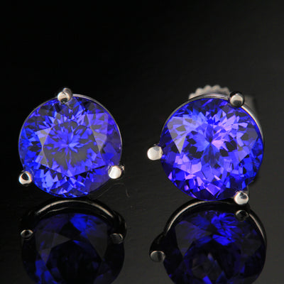 3.99 ct round tanzanite stud earrings