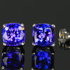 14k White Gold Square Cushion Tanzanite Stud Earrings 4.33 Carats