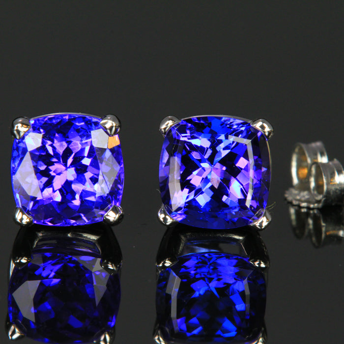 5b22168ab7fc17 14k White Gold Square Cushion Tanzanite Stud Earrings 4.33 Carats ...