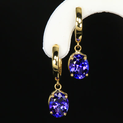 14K Yellow gold huggie tranzanite earrings