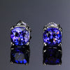 14K White Gold Tanzanite Stud Earrings 3.04 Carats