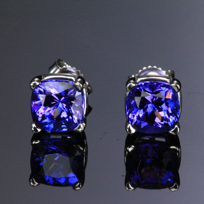f66507e44aa865 14K White Gold Tanzanite Stud Earrings 3.04 Carats - Tanzanite ...