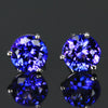 14K White Gold Blue Violet Round Brilliant Tanzanite Stud Earrings 2.79 Carats