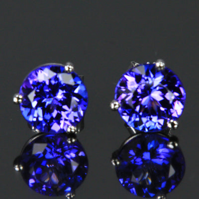 14K White Gold Blue Violet Round Brilliant Tanzanite Stud Earrings 2.88 Carats