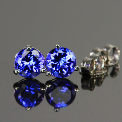 14k White Gold Round Tanzanite Stud Earrings  1.16 Carats