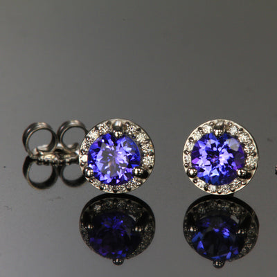 14K White Gold Round Tanzanite and Diamond Halo Stud Earrings .80 Carats 4.5mm