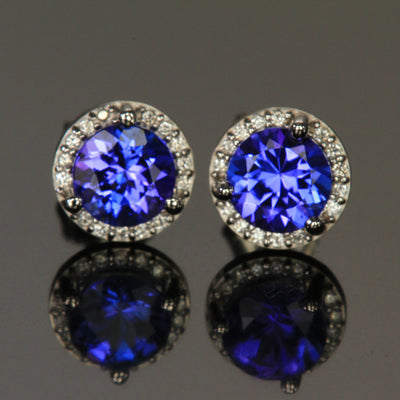 14K White Gold Round Tanzanite and Diamond Halo Stud Earrings 1.20 Carats