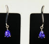 14K White Gold Stude Pierced Pear Shaped Tanzanite Earrings 1.65 Carats