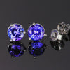 14k White Gold Round Tanzanite Stud Earrings 1.71 Carats