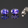 14k White Gold Oval Tanzanite Stud Earrings 1.46 Carats