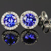 14K White Gold Round Tanzanite and Diamond Halo Earrings 1.22 Carats
