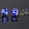 14K White Gold Round Tanzanite Stud Earrings 1.34 Carats