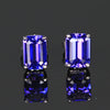 14K White Gold Emerald Cut Tanzanite Stud Earrings 2.10 Carats