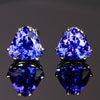 14k White Gold Trilliant Tanzanite Earrings 3.79 Carats