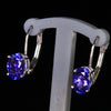 14K White Gold Oval Lever Back Tanzanite Earrings 1.90 Carats