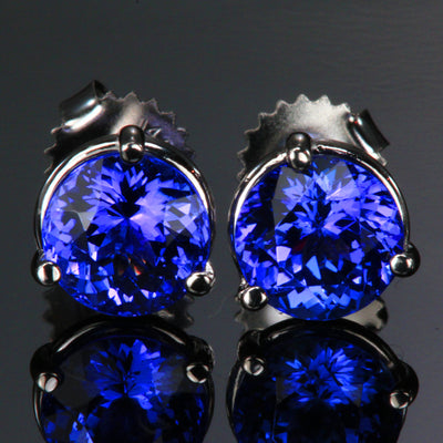 14K White Gold Tanzanite Stud Earrings 4.34 Carats