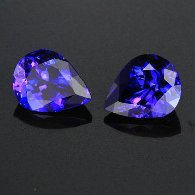 Exceptional Color Pear Shape Tanzanite Pair Gemstone 5.13 Carats
