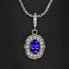 14K White Gold Oval Tanzanite and Diamond Pendant 1.05 Carats