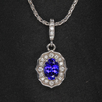 oval tanzanite diamond halo diamond bail pendant