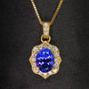 oval tanzanite diamond halo with diamond bail pendant