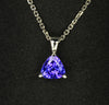 14K white Gold Blue Violet Trillant Cut Tanzanite Pendant 1.20 Carats