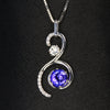 14K White Gold Tanzanite Swirl Pendant with Diamonds 1.73 Carats
