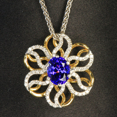 18K Yellow & White Gold Tanzanite & Diamond Pendant by Christopher Michael 3.46 Carats