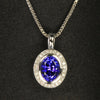 14K White Gold Oval Tanzanite and Diamond Pendant