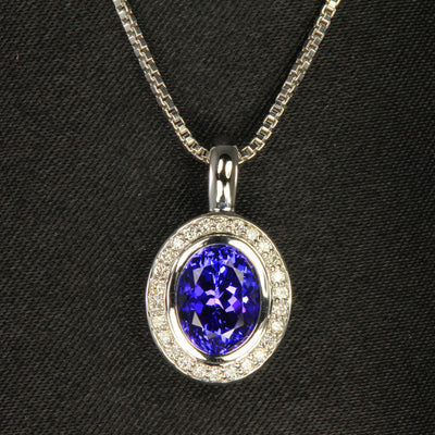 14K White Gold Oval Tanzanite and Diamond Pendant 1.90 Carats