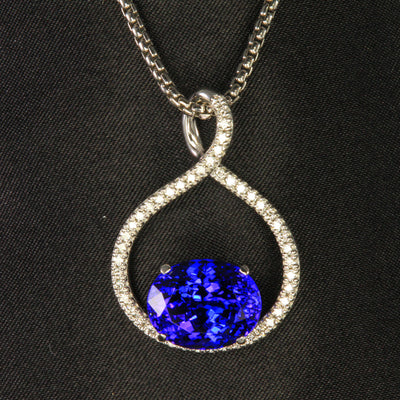 14K White Gold Oval Tanzanite and Diamond Pendant by Christopher Michael  8.70 Carats