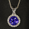 14K White Gold Round Brilliant Tanzanite & Diamond Pendant