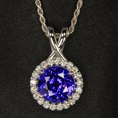 14K White Gold Round Brilliant Tanzanite & Diamond Pendant 5.28 Carats