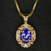 14K Yellow Gold Oval Tanzanite & Diamond Pendant