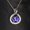 14K White Gold Oval Tanzanite with Diamond Pendant