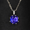 14K White Gold Square Cushion Tanzanite Pendant 3.0 Carats