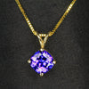 14k Yellow Gold Square Cushion Tanzanite Pendant 2.21 Carats