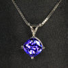 14K White Gold Square Cushion Tanzanite Pendant 2.26 Carats