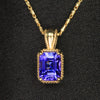 14K Yellow Gold Emerald Cut Tanzanite Pendant 1.29 Carats
