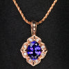 14k Rose Gold Oval Tanzanite and Diamond Pendant 1.03 Carats