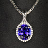 14K White Gold Oval Tanzanite and Diamond Pendant 3.02 Carats