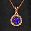 rose gold round tanzanite and diamond halo pendant