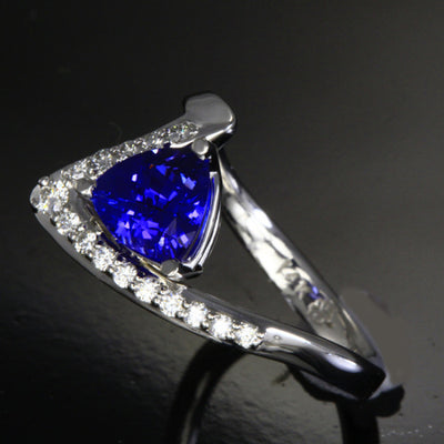 Trilliant Tanzanite Ring with Ideal Cut Diamonds