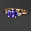 14k Rose Gold Oval Tanzanite Ring with Diamond 1.58 Carats