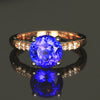 14K White & Rose Gold Round Brilliant Cut Tanzanite & Diamond Ring
