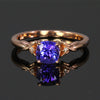 14K Rose Gold Sqaure Cushion Cut Tanzanite and Diamond Ring  1.18 Carats