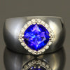 14 K White Gold Cushion Tanzanite Ring with Diamonds
