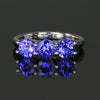 14K White Gold Three Stone Round Tanzanite Ring