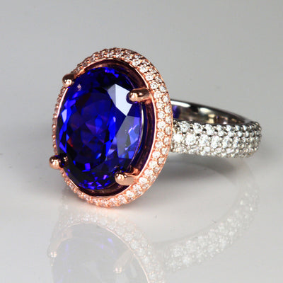 Platinum and 14k Rose Gold Oval Tanzanite Halo Ring 7.50 Carats