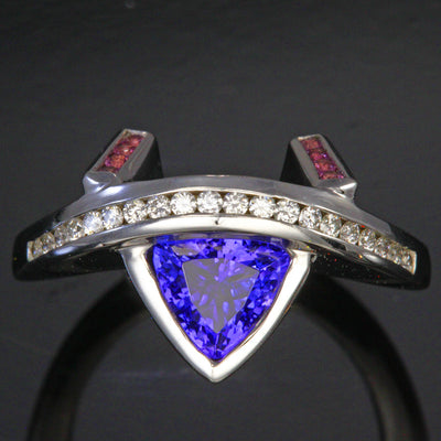 14K White Gold Tanzanite, Diamond and Pink Sapphire Ring by Christopher Michael 1.32 Carats